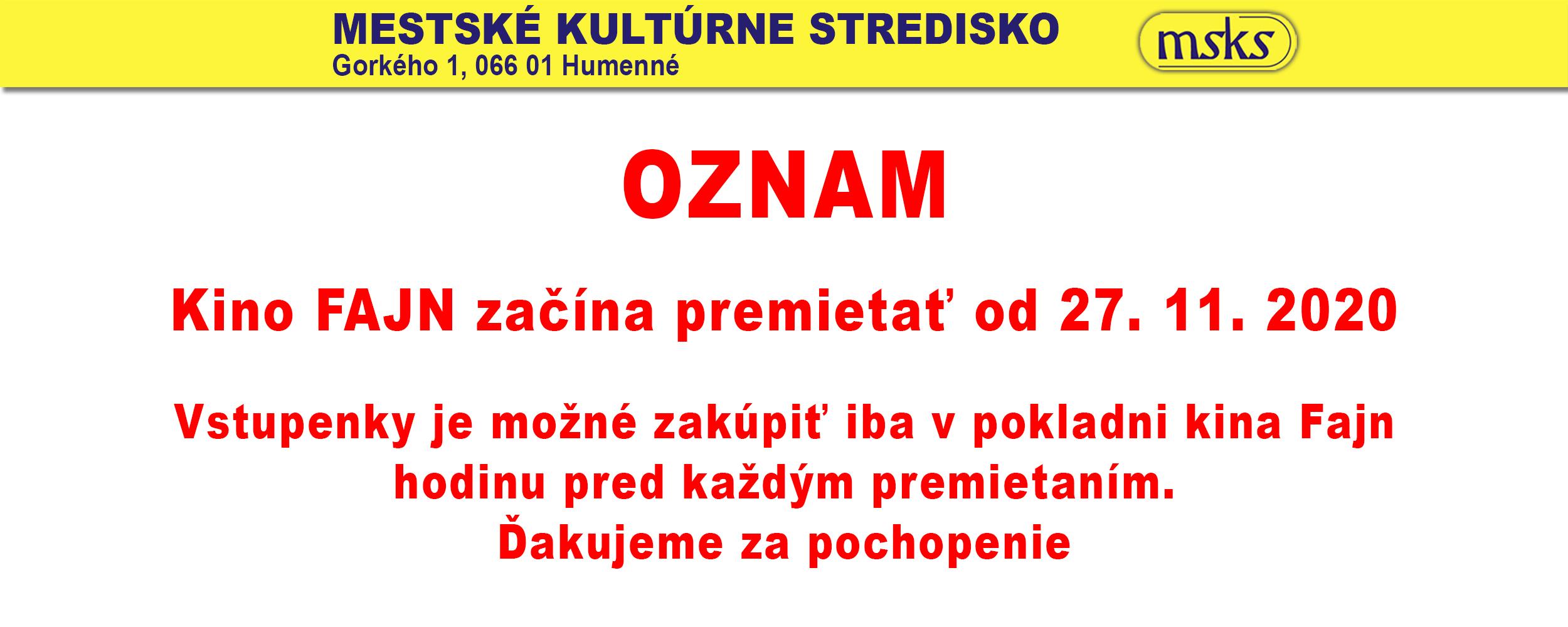 Kino Fajn Začína Premietať Oznam