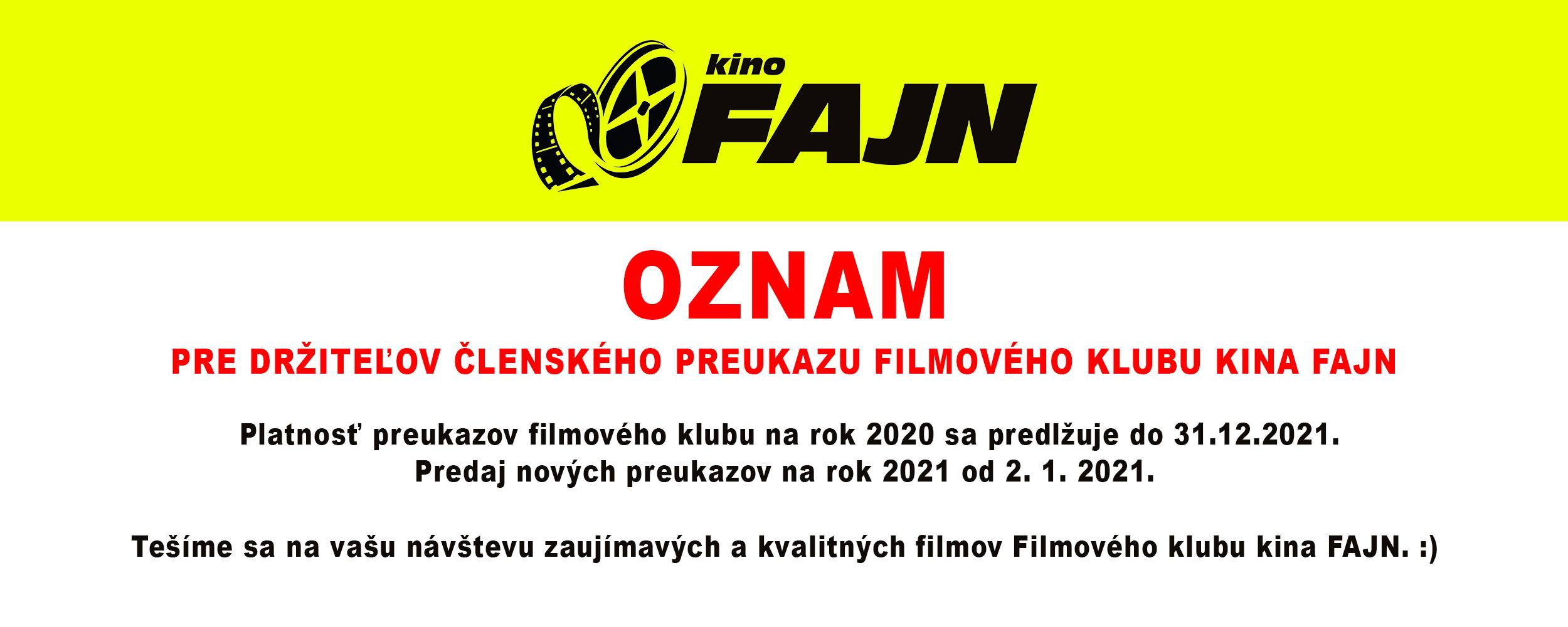 Oznam KINO členský Preukaz
