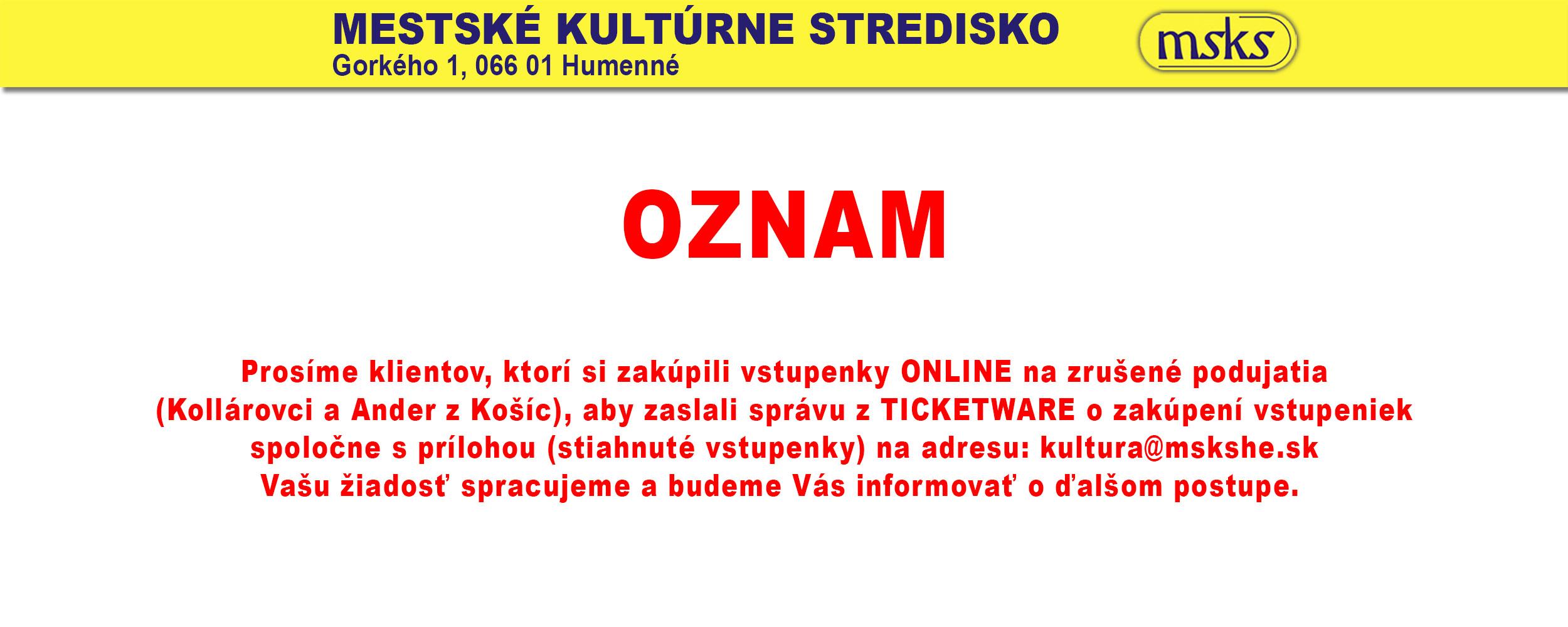 Oznam Ticketware Nove